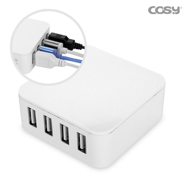 스퀘어 USB 4포트 충전기 (5A)